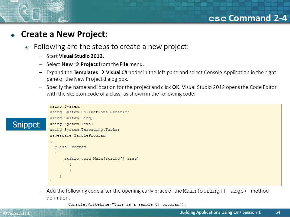csc Command 2-4 Create a New Project: