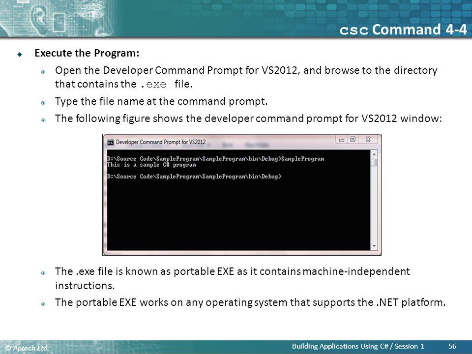 csc Command 4-4 Execute the Program: