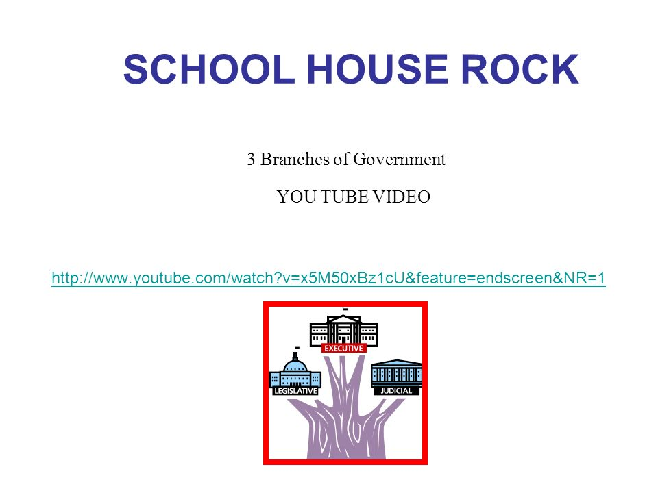 SCHOOL HOUSE ROCK 3 Branches of Government YOU TUBE VIDEO
