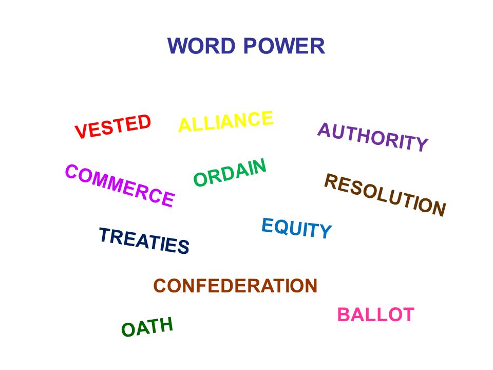 WORD POWER ALLIANCE VESTED AUTHORITY ORDAIN COMMERCE RESOLUTION EQUITY