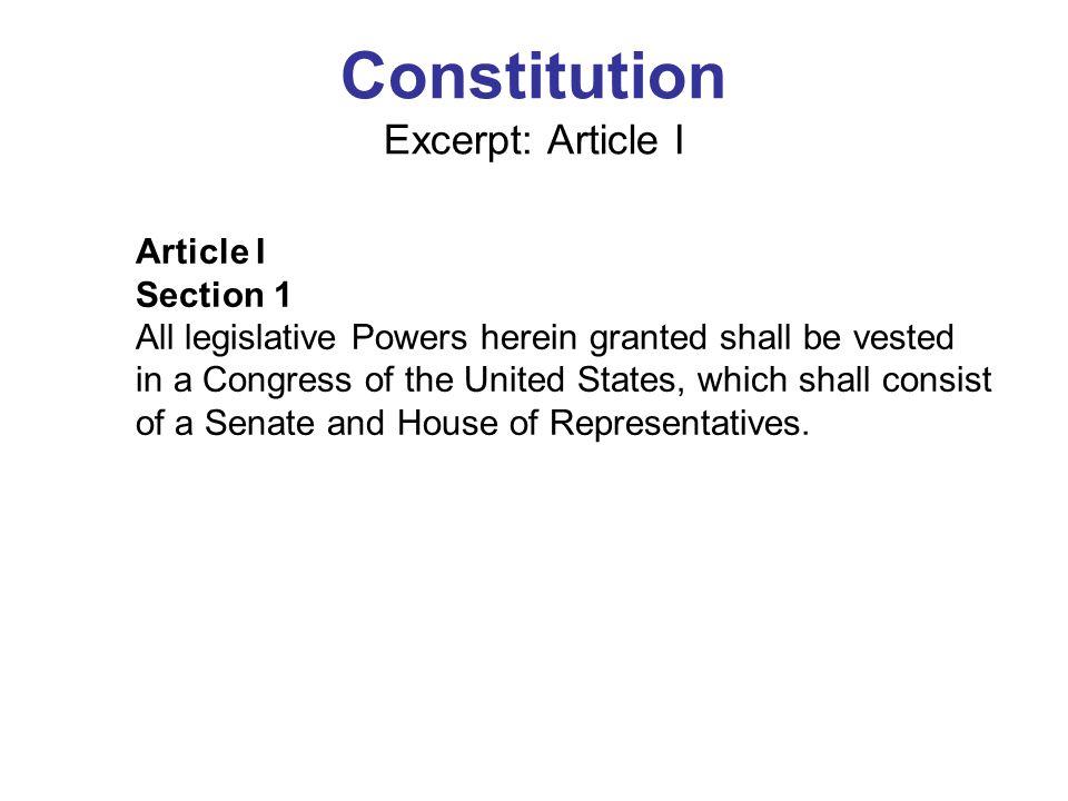 Constitution Excerpt: Article I