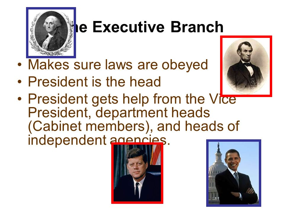 The Executive Branch Makes sure laws are obeyed President is the head