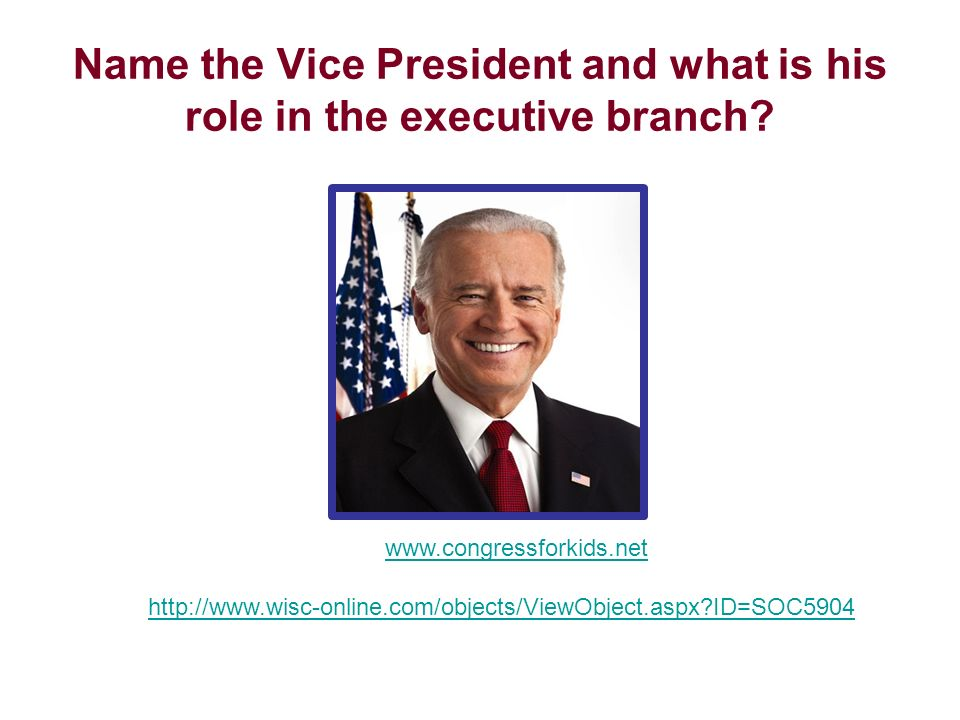 Name the Vice President and what is his role in the executive branch