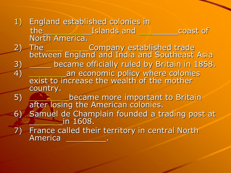 England established colonies in