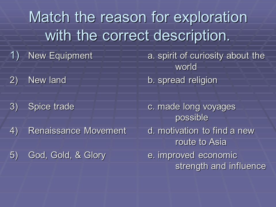 Match the reason for exploration with the correct description.