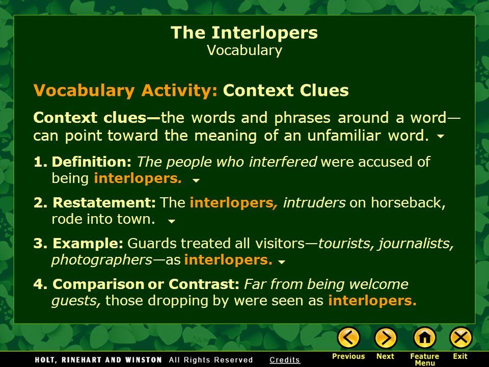The Interlopers Vocabulary