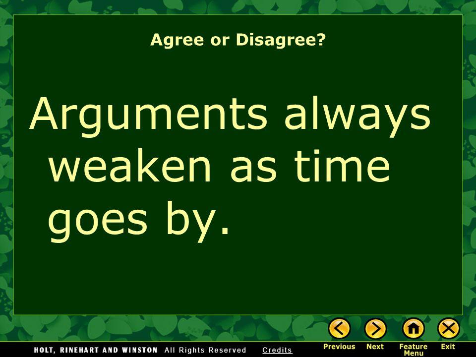 Arguments always weaken as time goes by.