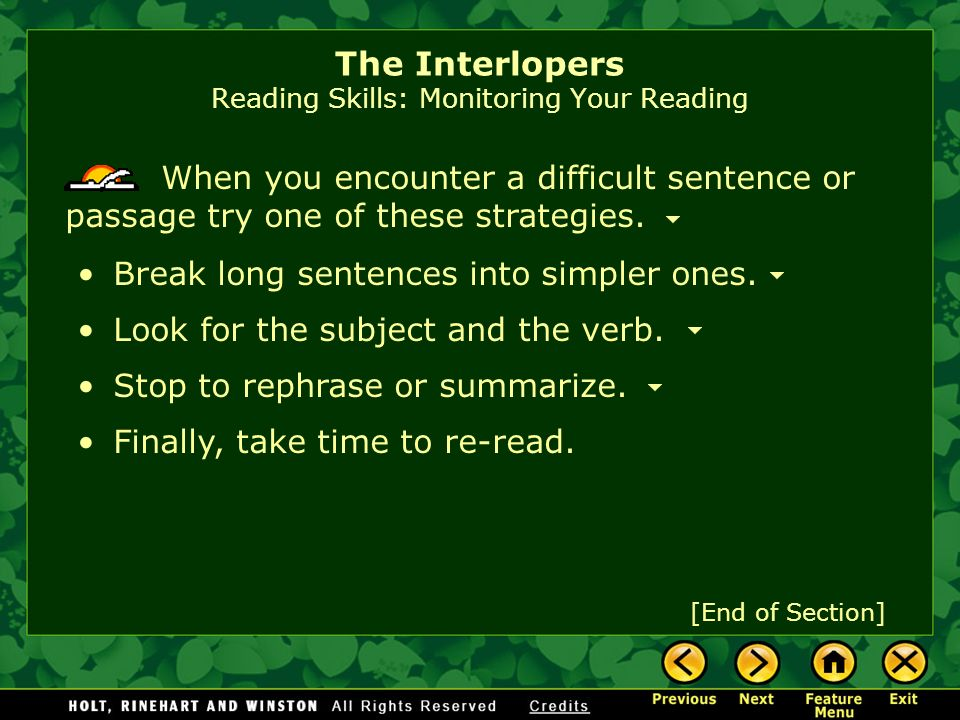 The Interlopers Reading Skills: Monitoring Your Reading