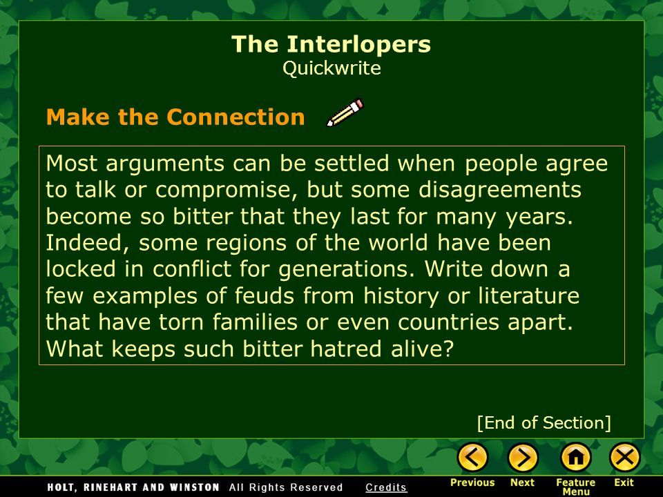 The Interlopers Quickwrite