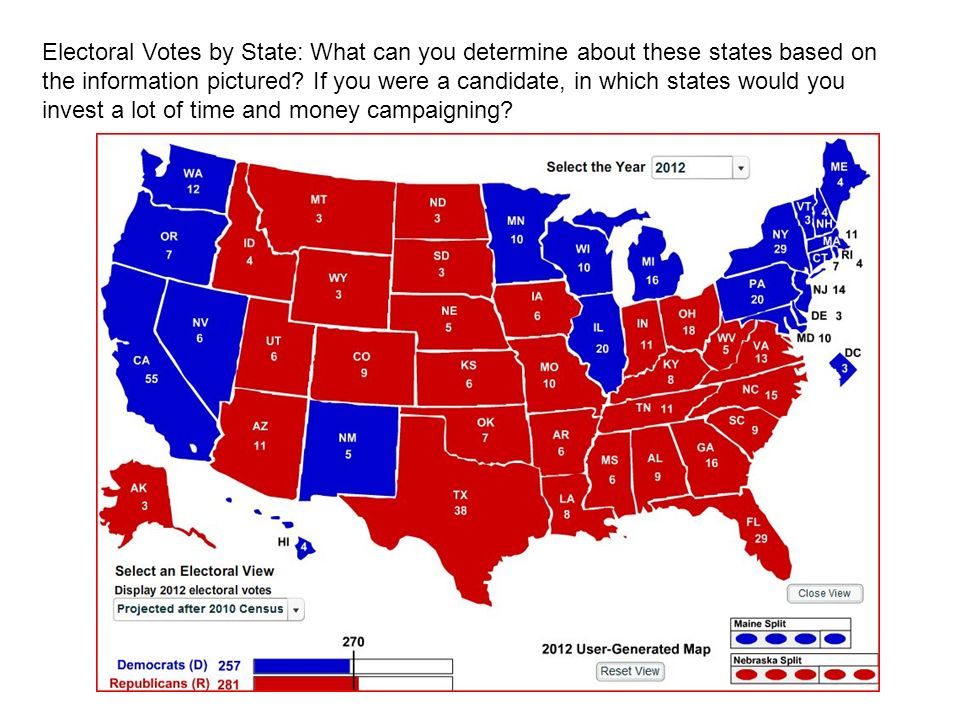 Electoral Votes by State: What can you determine about these states based on the information pictured.