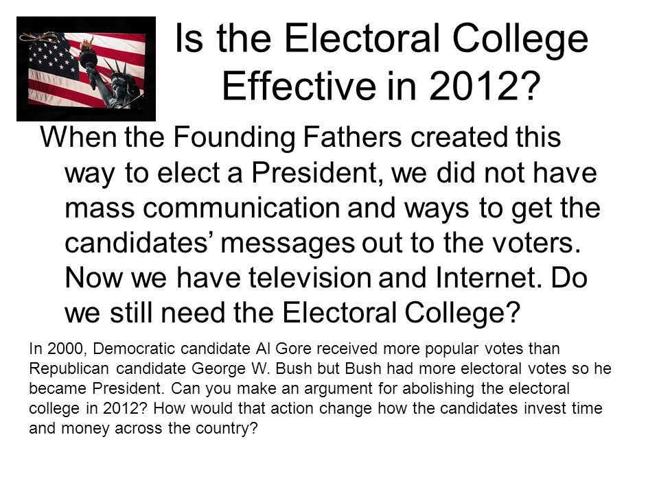 Is the Electoral College Effective in 2012