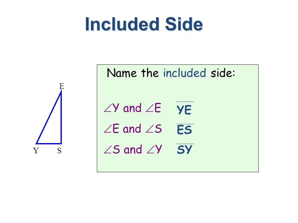 Included Side Name the included side: Y and E E and S S and Y YE