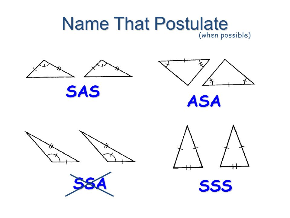 Name That Postulate (when possible) SAS ASA SSA SSS