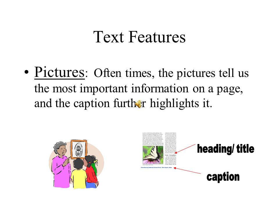 Text Features Pictures: Often times, the pictures tell us the most important information on a page, and the caption further highlights it.