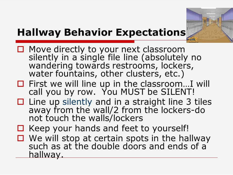 Hallway Behavior Expectations