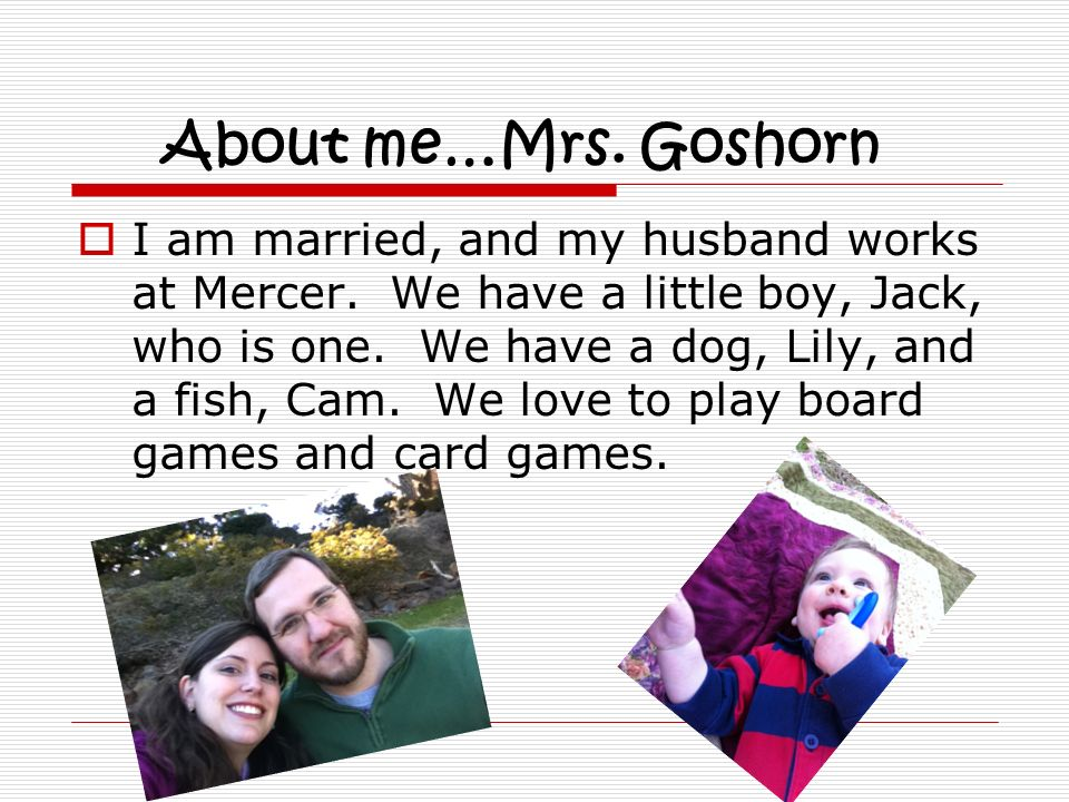 About me…Mrs. Goshorn
