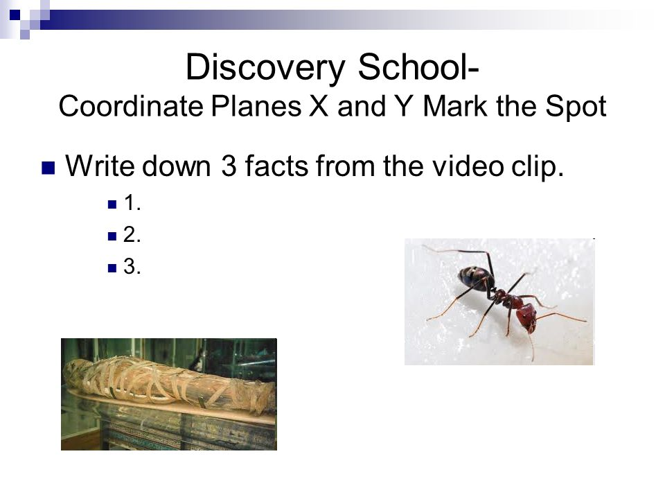 Discovery School- Coordinate Planes X and Y Mark the Spot
