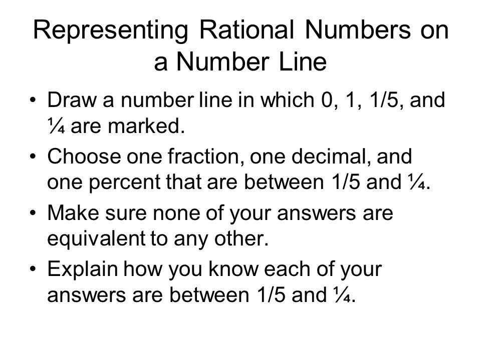 Representing Rational Numbers on a Number Line
