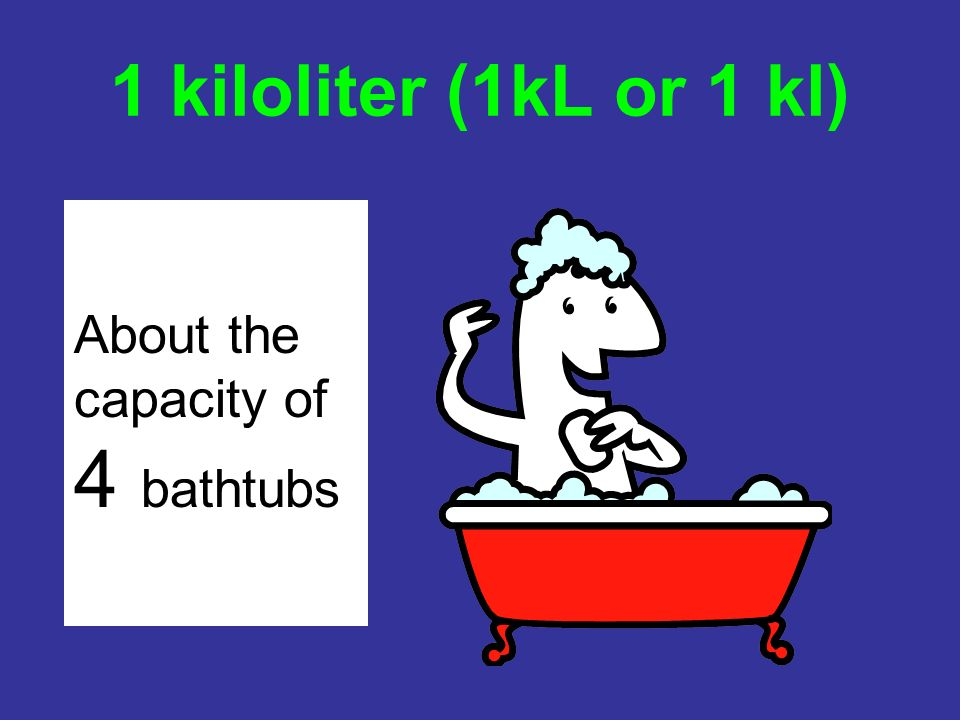 1 kiloliter (1kL or 1 kl) About the capacity of 4 bathtubs