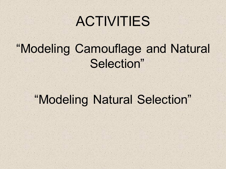 ACTIVITIES Modeling Camouflage and Natural Selection