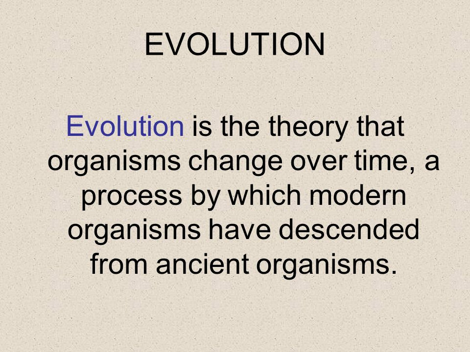 EVOLUTION Evolution is the theory that organisms change over time, a process by which modern organisms have descended from ancient organisms.