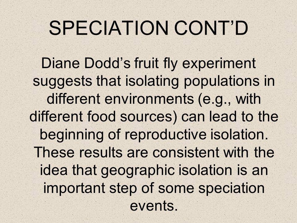 SPECIATION CONT'D