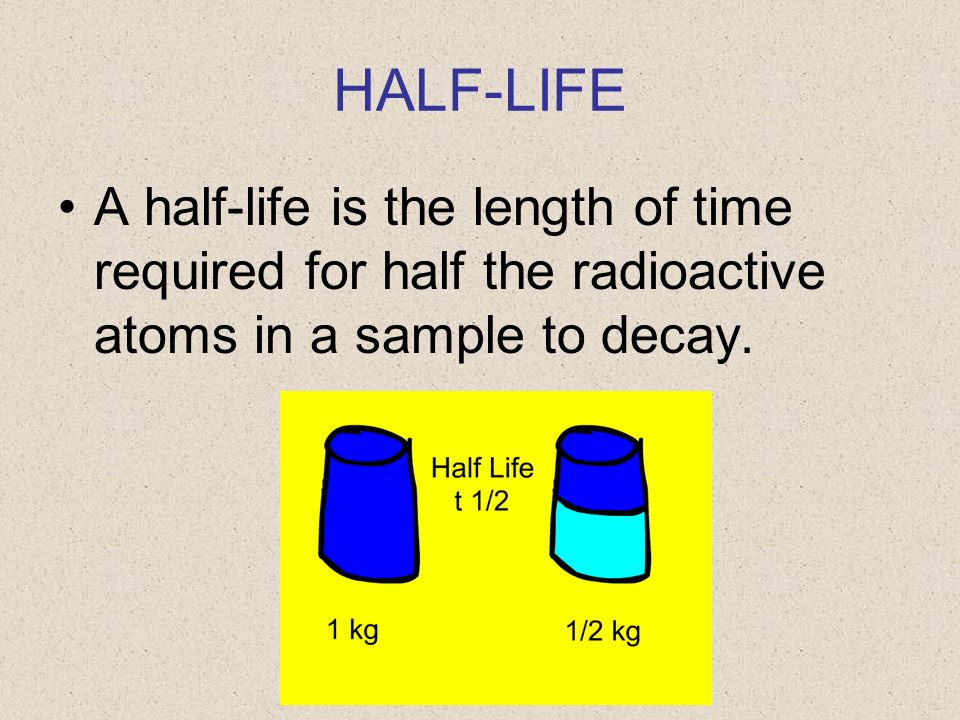 HALF-LIFE A half-life is the length of time required for half the radioactive atoms in a sample to decay.