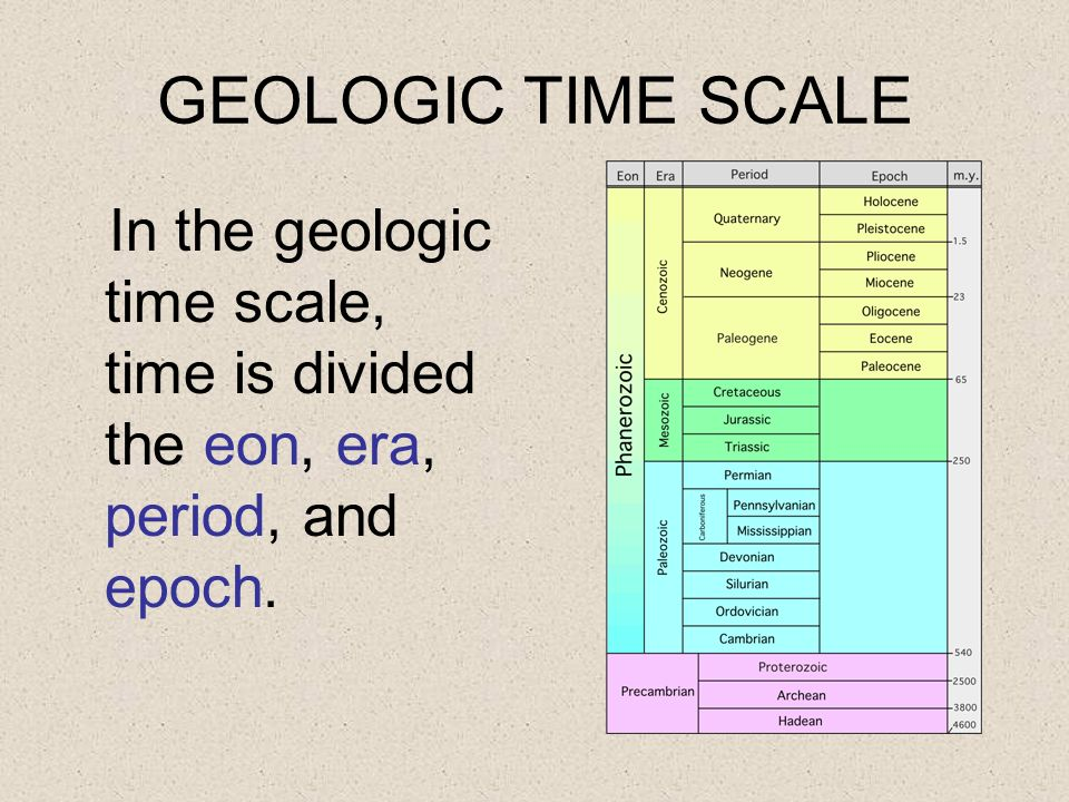 GEOLOGIC TIME SCALE In the geologic time scale, time is divided the eon, era, period, and epoch.