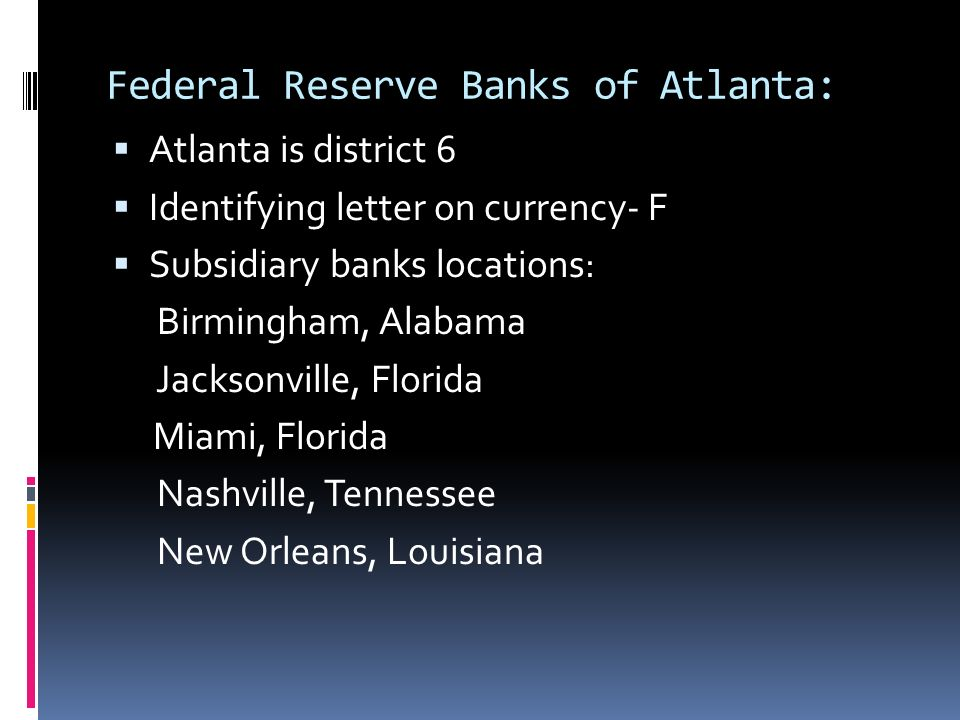 Federal Reserve Banks of Atlanta: