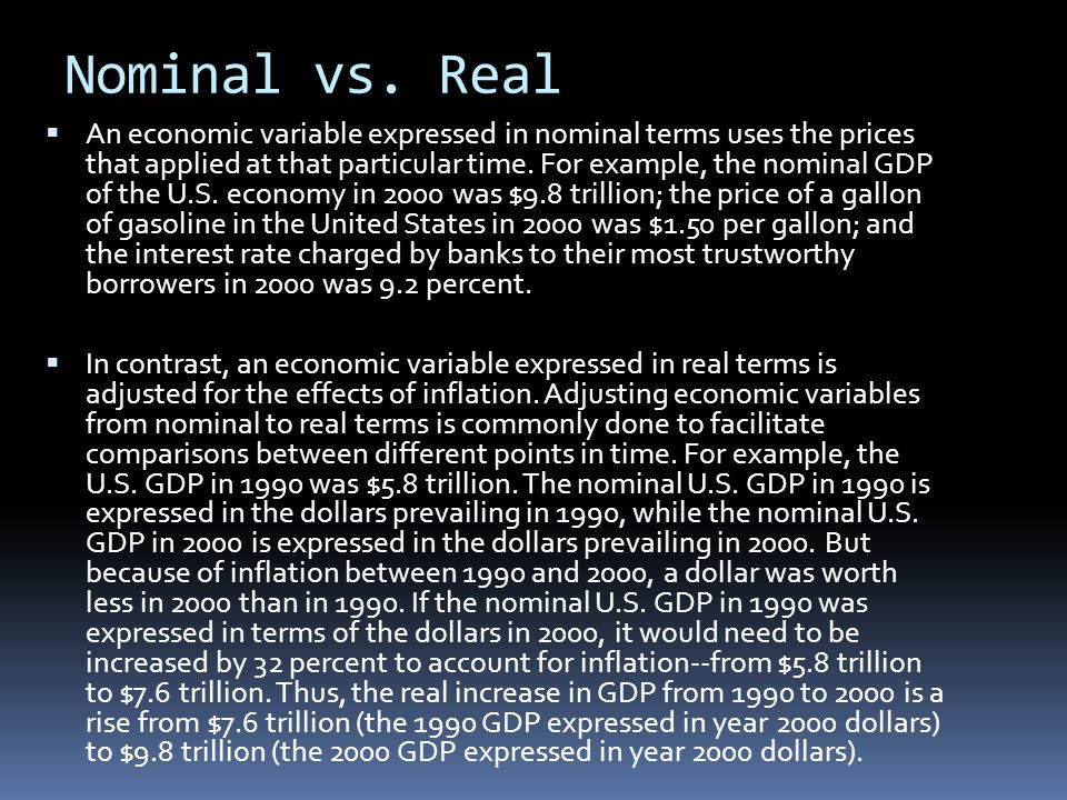 Nominal vs. Real