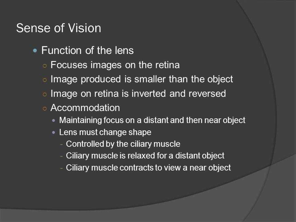Sense of Vision Function of the lens Focuses images on the retina