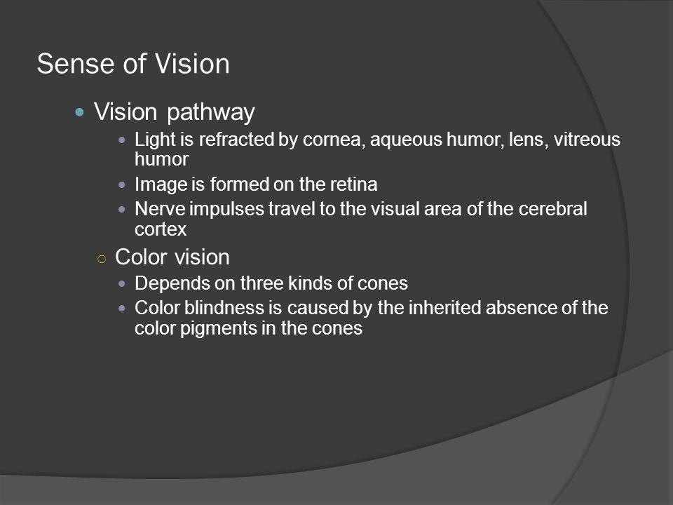 Sense of Vision Vision pathway Color vision