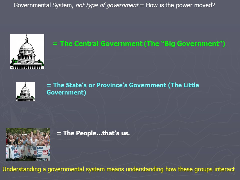 = The Central Government (The Big Government )