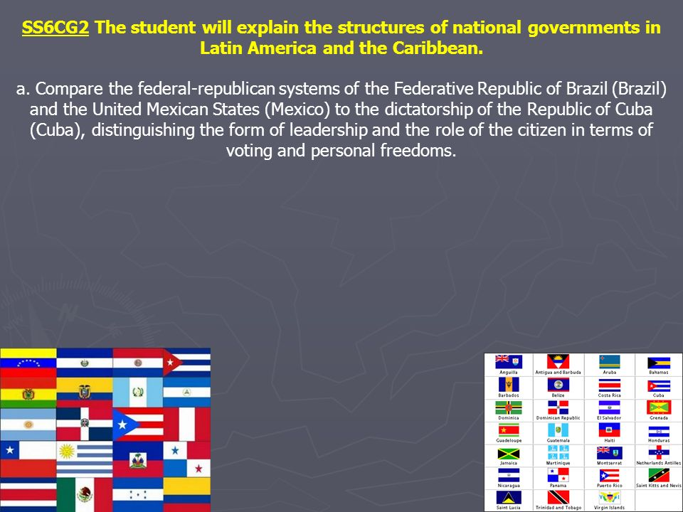 SS6CG2 The student will explain the structures of national governments in Latin America and the Caribbean.
