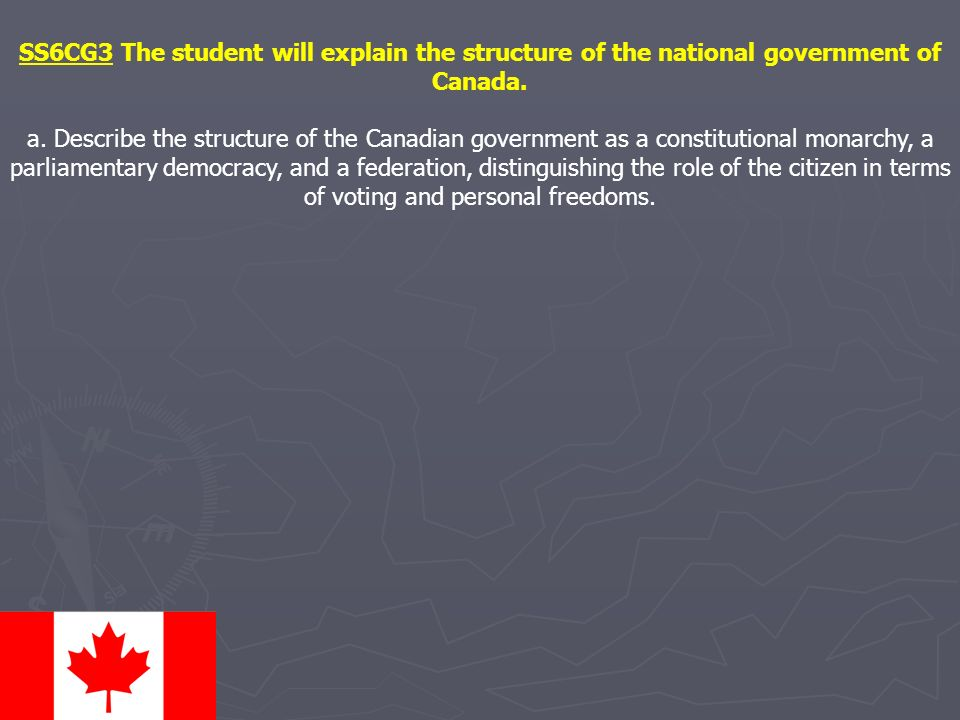 SS6CG3 The student will explain the structure of the national government of Canada.