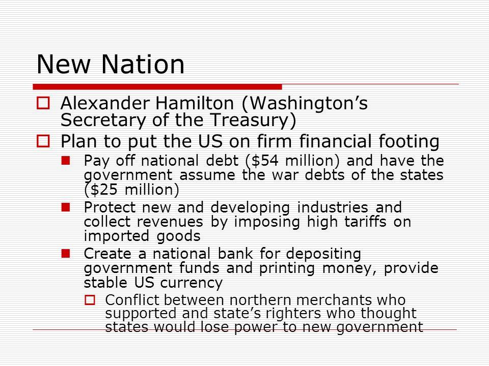 New Nation Alexander Hamilton (Washington's Secretary of the Treasury)