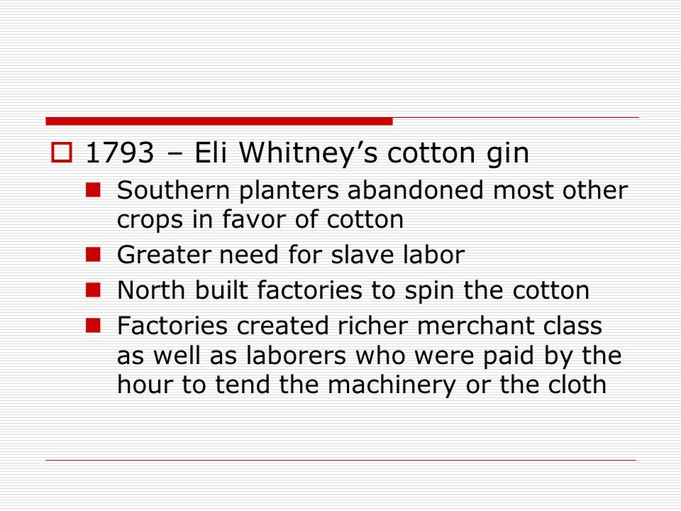 1793 – Eli Whitney's cotton gin
