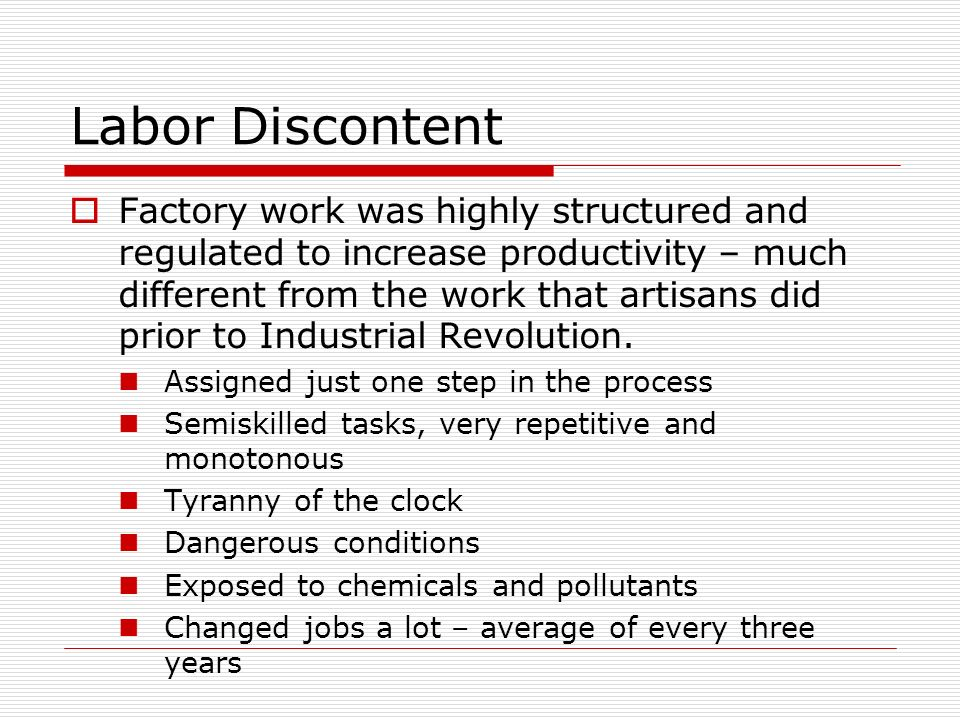 Labor Discontent