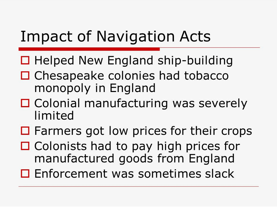 Impact of Navigation Acts