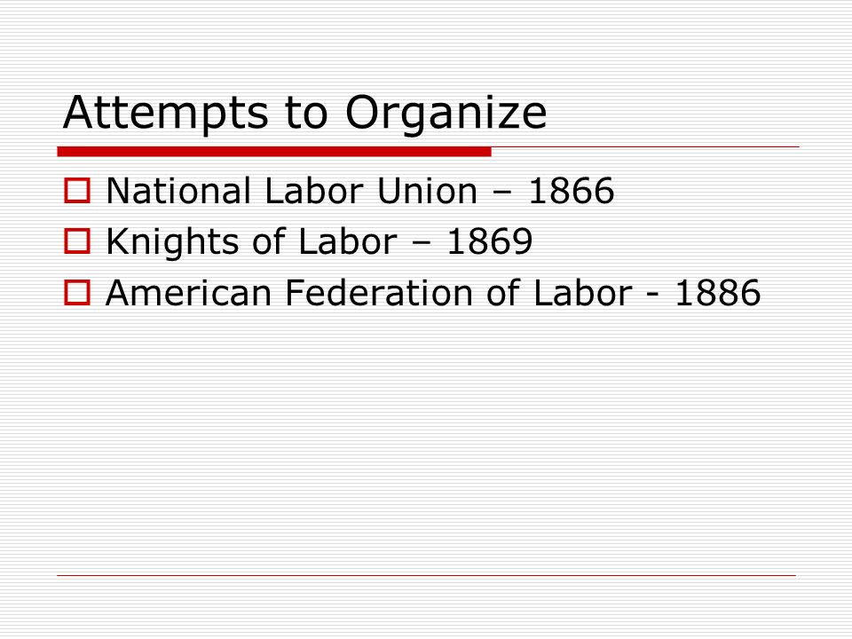 Attempts to Organize National Labor Union – 1866