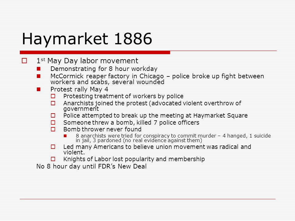 Haymarket 1886 1st May Day labor movement