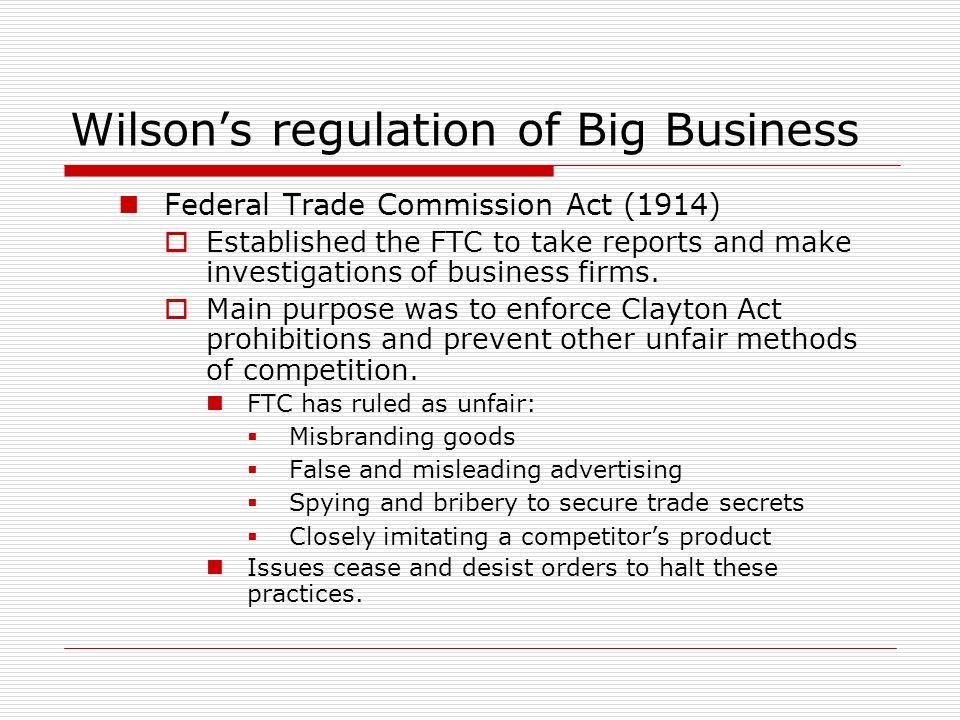 Wilson's regulation of Big Business