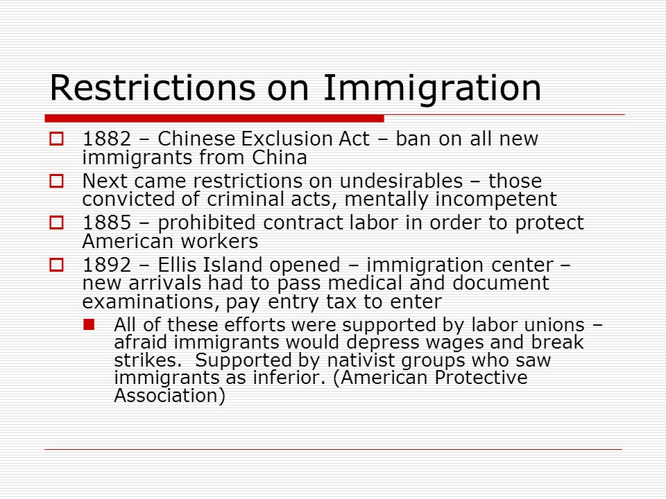 Restrictions on Immigration