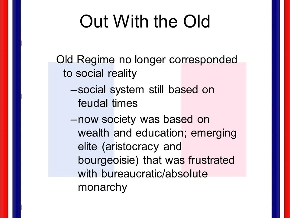 Out With the Old Old Regime no longer corresponded to social reality