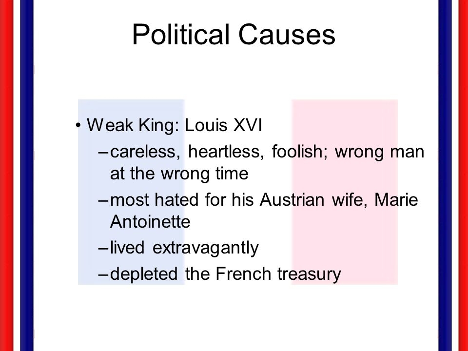 Political Causes Weak King: Louis XVI