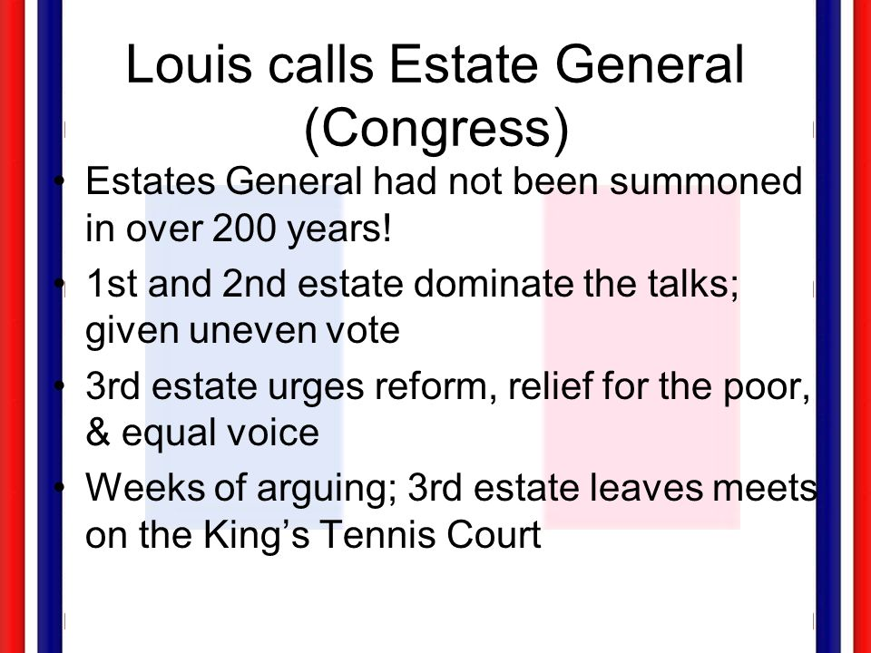 Louis calls Estate General (Congress)