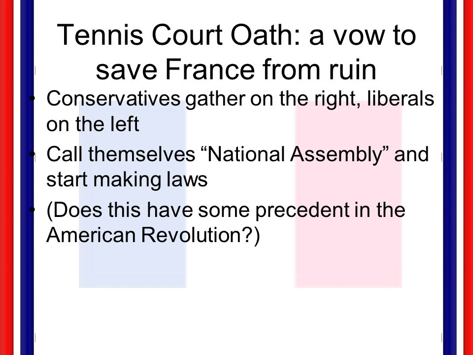 Tennis Court Oath: a vow to save France from ruin