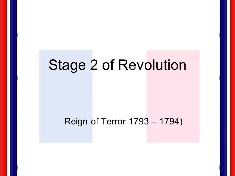Stage 2 of Revolution Reign of Terror 1793 – 1794)