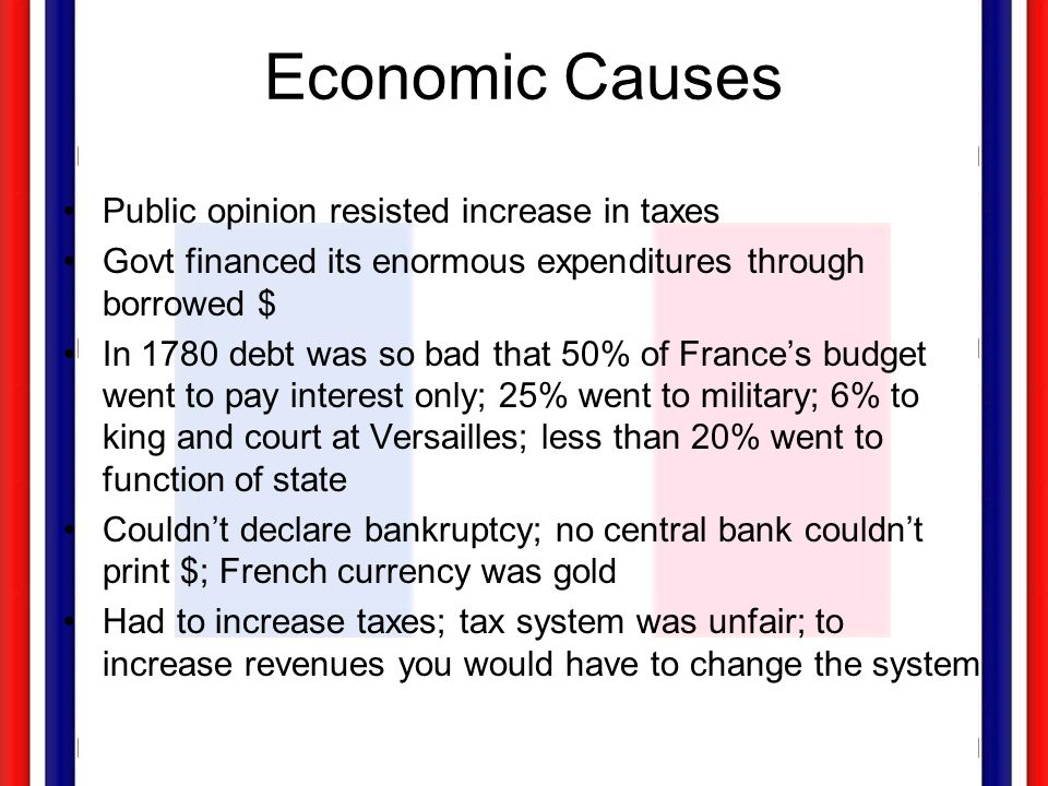 Economic Causes Public opinion resisted increase in taxes