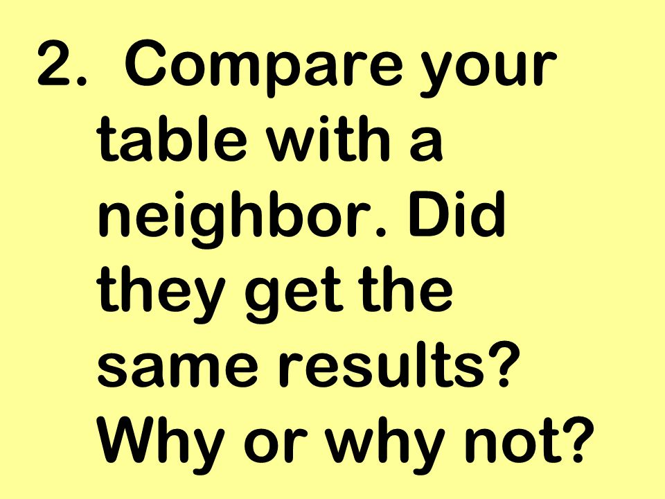 2. Compare your table with a neighbor. Did they get the same results